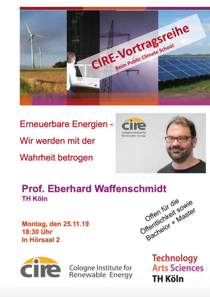 Poster zu einer Vortragsreihe zum Thema Erneuerbare Energien